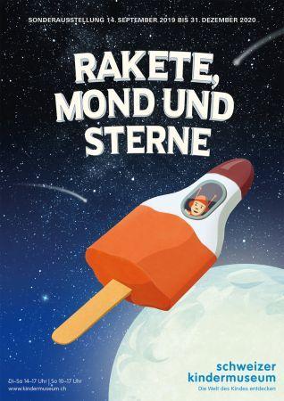 Rakete, Mond und Sterne