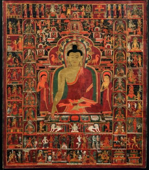 La vie du Bouddha - 14ème - Tibet - Détrempe sur coton