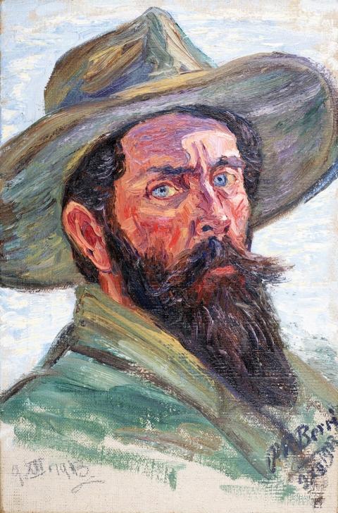 Autoritratto con cappello, 9 dicembre 1913, olio su tela