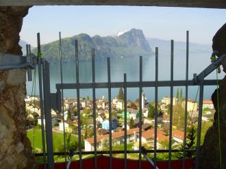 Ausblick vom Beobachtungsposten auf das Dorf Vitznau