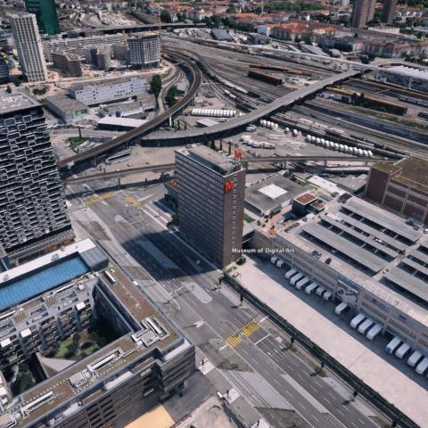 MuDA occupies the ground floor of Zurich\'s first high-rise.