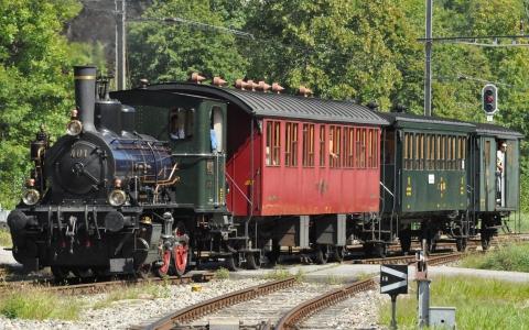 Train historique du DVZO arrive à Bauma.