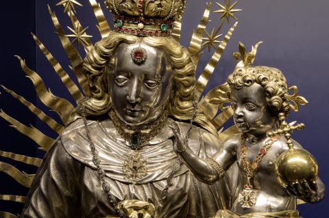 Silberne Madonnenbüste mit Jesuskind, Luzern 1658