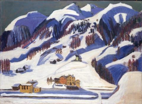 Ernst Ludwig Kirchner: Berge und Häuser im Schnee, um 1924