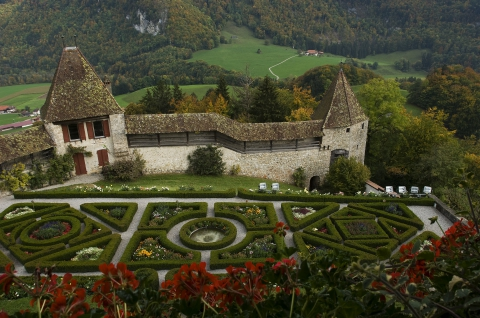 The gardens of the Castle of Gruyères
