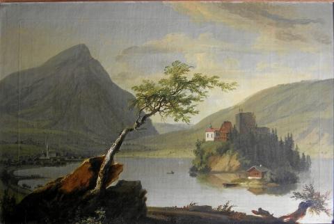 Lauerzersee mit Insel Schwanau. 1777. Eigentum der Stiftung Murikultur.