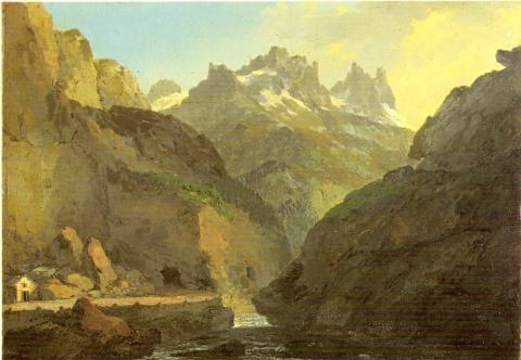 Das Urner Loch von der Schöllenen her gesehen. 1773. Eigentum der Stiftung Murikultur.