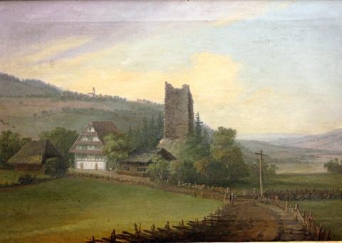 Ruine Hünenberg. 1771. Eigentum der Stiftung Murikultur.