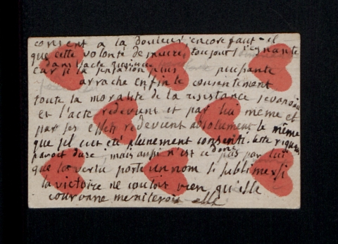 Carte à jouer annotée par Rousseau