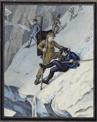 Martin Disteli: Hugis Sturz auf dem Rottalgletscher, 1830
