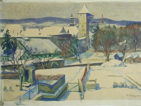 Rheinfelden mit Storchennestturm, Paul Widmer 1940