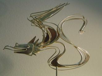 Drache im Wind. 60iger Jahre, Silber, 35.5 x 20 cm, Modell