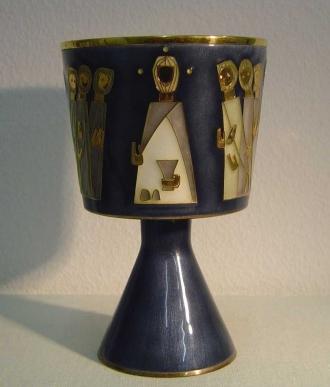 Messkelch, 1965, Silber, vergoldet, emailliert, H 17,4 cm