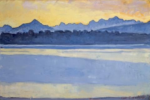 Ferdinand Hodler, Genfersee mit Mont-Blanc bei Sonnenaufgang, 1918