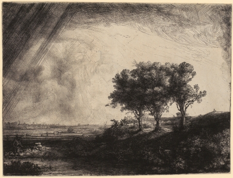 Rembrandt van Rijn, Landschaft mit drei Bäumen, 1643