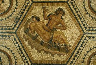 Satyre décourant Ariane, mosaïque dite de Bacchus et Ariane