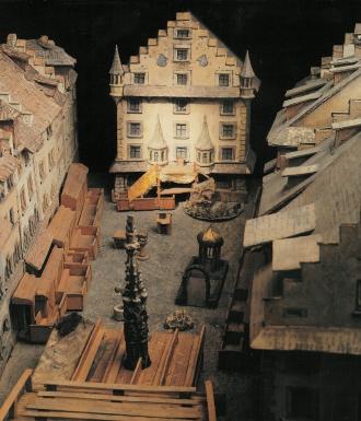 Modell der Spielanlage für das Luzerner Osterspiel von 1583.