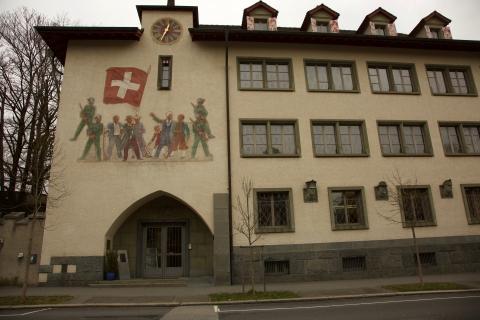 Schützenmuseum mit Wandmalerei von Fritz Traffelet
