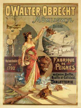 Plakat der Kammfabrik Mümliswil, 1896